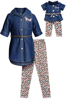 Dollie & Me Girls 4-14 Chambray Shirt Dress, Leggings & Belt Set & Matching Doll Outfit