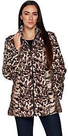 Dennis Basso Mixed Animal Print Faux Fur Jacket