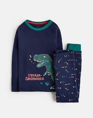 Joules Snooze Glow In The Dark Jersey Pj Set in French Navy Zzz Rex