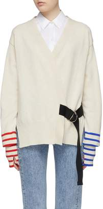 La Fetiche 'Loulou' belted stripe cuff colourblock back lambswool cardigan