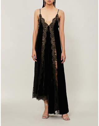 Stella McCartney Lace-panel velvet dress