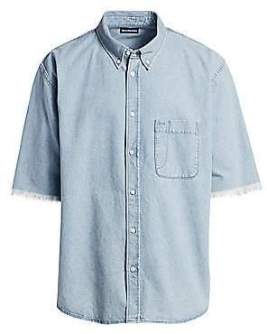 Balenciaga Men's Normal-Fit Chambray Silk Short-Sleeve Shirt