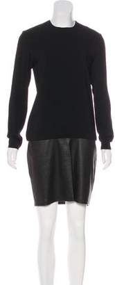 Ralph Lauren Leather-Paneled Long Sleeve Dress