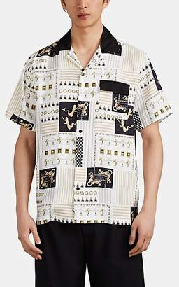 Saturdays NYC Men's Nautical-Print Twill Camp Shirt - White