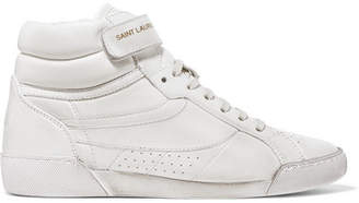 Saint Laurent Lenny Logo-print Distressed Leather High-top Sneakers - White