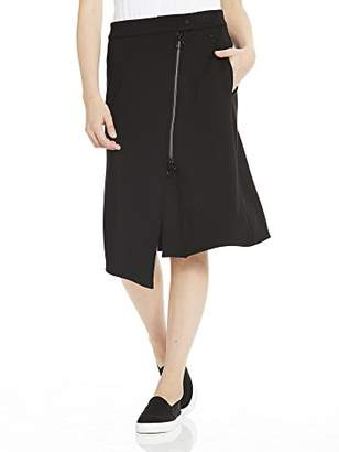 Bench Women's Sweat Skirt Asymetrical Zip Front (Black Beauty Bk11179), Large