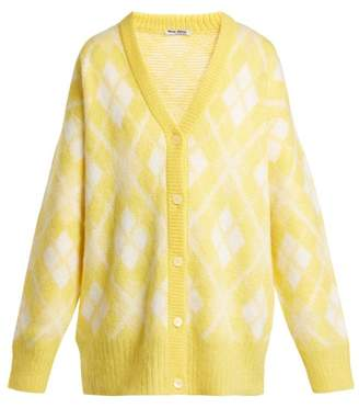 Miu Miu Oversized Argyle Mohair Blend Cardigan - Womens - Yellow