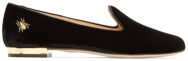 Charlotte Olympia Charlotte Olympia Black Velvet Nocturnal Loafers