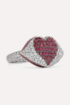 Ofira - Kiss Me 18-karat White Gold, Diamond And Ruby Ring