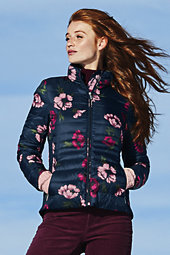 Lands' End Women's Tall Lightweight Down Jacket-Wild Berry Floral $159 thestylecure.com