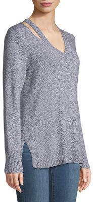 Lilla P Slit-Neck Cotton-Cashmere Sweater