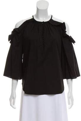 Rachel Zoe Cold-Shoulder Ruffle-Accented Top w/ Tags