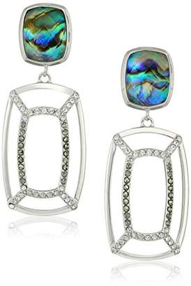 Judith Jack Sterling Silver/Swarovski Marcasite Post Drop Earrings