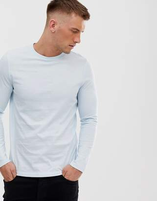 Asos Design DESIGN organic long sleeve t-shirt in blue
