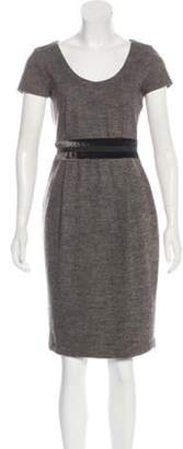 Max Mara Short Sleeve Knee-Length Dress Grey Short Sleeve Knee-Length Dress