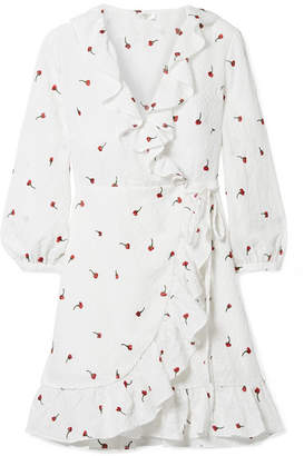 RIXO London - Abigal Ruffled Embroidered Gauze Wrap Mini Dress - White