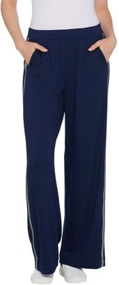 Dennis Basso Interlock Knit Wide-Leg Tuxedo Trim Pull-On Pants