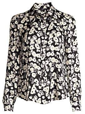 Derek Lam Women's Long-Sleeve Button-Down Poppy Print Silk Blouse