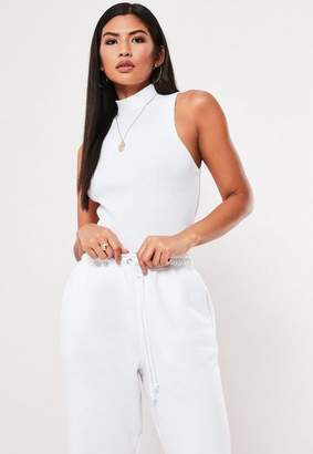 Missguided White Ribbed High Neck Sleeveless Tank Top