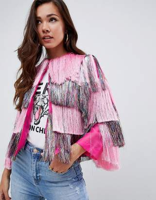 Asos Design DESIGN metallic fringed jacket