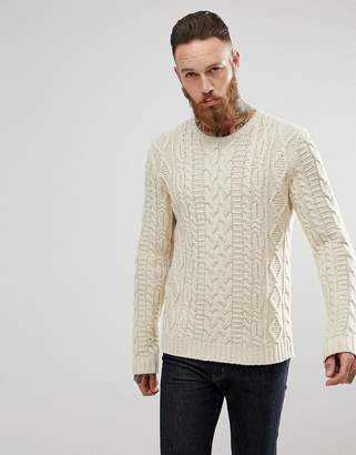 5f8d7fd004 at ASOS · Asos Design Chunky Cable Knit Jumper In Oatmeal