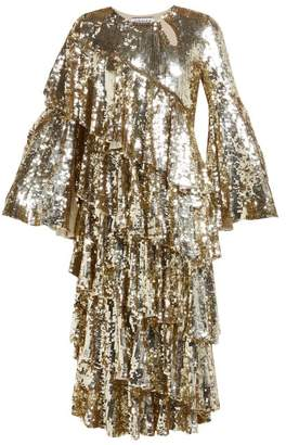 Osman Diaz Tiered Sequinned Midi Dress - Womens - Light Gold