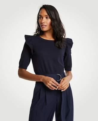 Ann Taylor Ruffle Shoulder Sweater