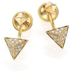 Marli Astrid Diamond& 18K Yellow Gold Ear Jacket& Stud Earrings Set