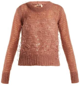 No.21 NO. 21 Ostrich-feather embellished mohair-blend sweater