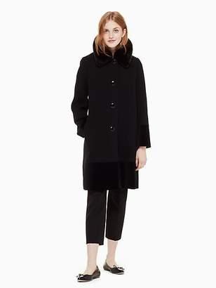 Kate Spade Faux fur collar velvet trim coat