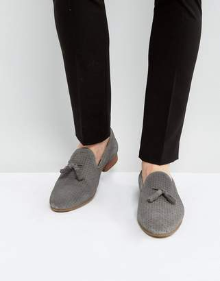 Asos Design Loafers In Grey Suede With Perforated Detail