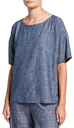 Eileen Fisher Plus Size Chambray Scoop-Neck Short-Sleeve Top