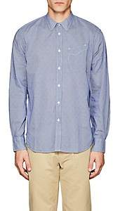 Officine Generale MEN'S MICRO-GINGHAM COTTON POPLIN SHIRT-BLUE SIZE S