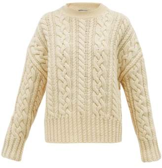Ami Cable Knit Wool Aran Sweater - Womens - Ivory
