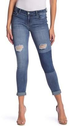 Kensie Knee Patch Roll Cuff Skinny Jeans