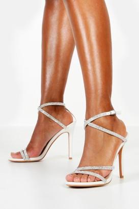 boohoo Embellished Multi Strap Heel Sandals