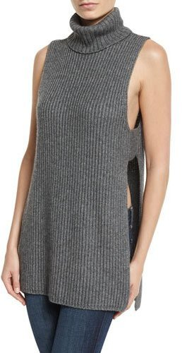 Autumn Cashmere Autumn Cashmere Shaker-Knit Turtleneck Apron Top