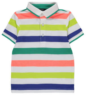 a3fde79231 George White Multi Stripe Short Sleeve Polo Shirt