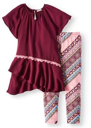ONE STEP UP Asymmetrical Ruffle Tunic & Legging, 2-Piece Outfit Set (Little Girls & Big Girls)