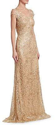 David Meister Women's Sequin Floral Gown