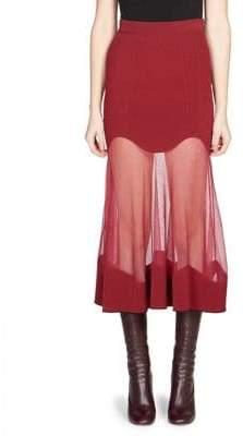Alexander McQueen Knit Mesh-Hem Midi Skirt