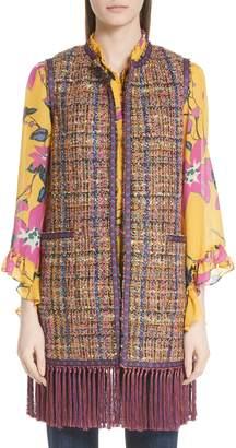 Etro Fringe Trim Tweed Vest