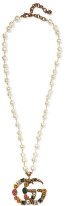 Gucci Gold-plated, Faux-pearl And Crystal Necklace