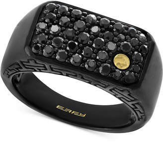 Effy Men's Black Sapphire Cluster Ring (1-3/8 ct. t.w.) in Black Rhodium-Plated Sterling Silver and 18k Gold