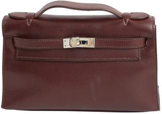 Hermes Kelly Clutch Burgundy Leather Clutch Bag