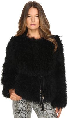 Versace Jeans Tie Waist Fur Sweater $1,459 thestylecure.com
