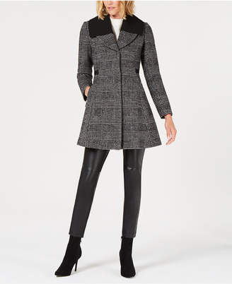 GUESS Skirted Plaid Walker Coat