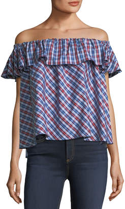 Petersyn Roxie Off-the-Shoulder Plaid Top