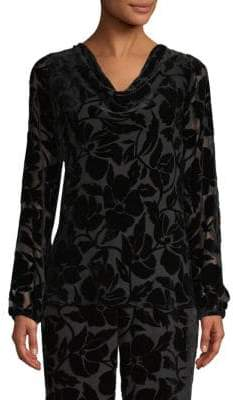 St. John Silk-Blend Velvet Burnout Blouse