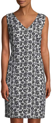 Karl Lagerfeld Paris Floral-Jacquard Sheath Dress